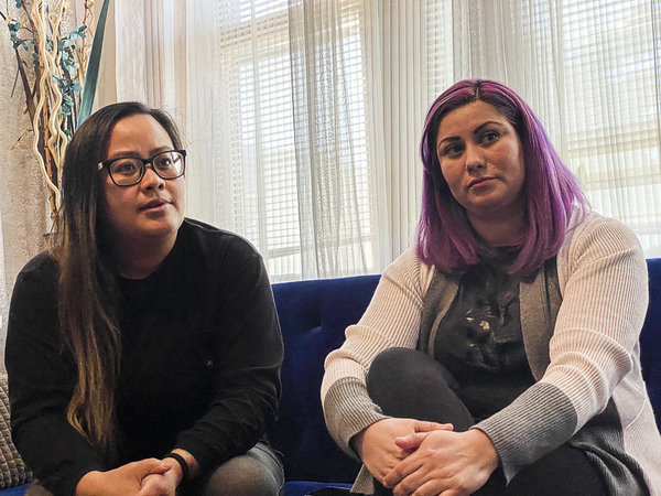 Princess Gonalzes, 36, left and Maribel Saenz, 38, told the Sun-Times that while working four jobs and clocking in 80 hours a week, and they struggle to make ends meet for their family of five. | Ahlaam Delange/Sun-Times
