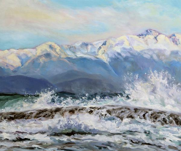 "Sold - ""Rough Seas and Sunshine"" oil on canvas 20 x 24 inches by Terrill Welch"