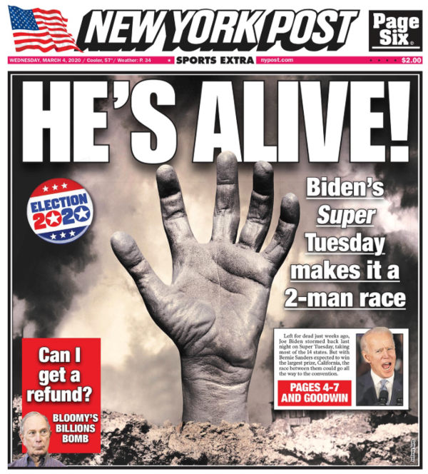 Voorpagina van de New York Post na Super Tuesday