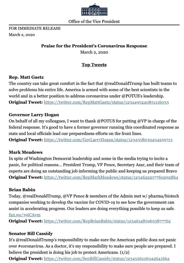 Persbericht van het Witte Huis