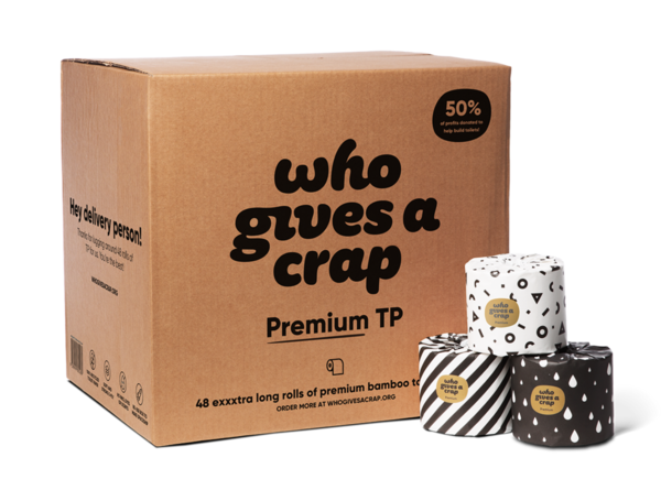 A Who Gives A Crap box and some Premium rolls