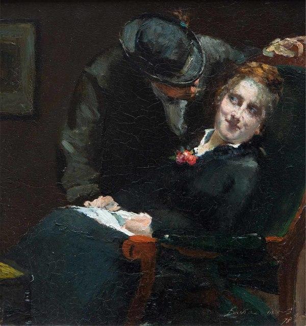 'Est-ce que tu m'aimes' 1878 - olieverf op paneel: David Oyens (Veilinggebouw De Zwaan lot 4525)