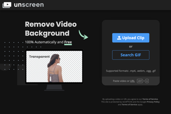 Landing page for unscreen