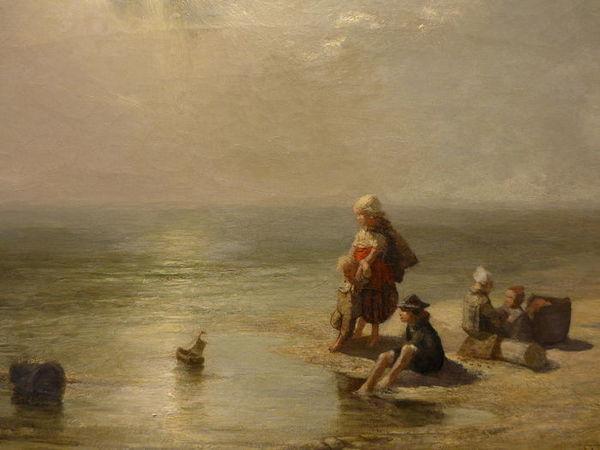 'Spelende kinderen aan het strand' - olieverf op doek: Ferdinand Carl Sierig