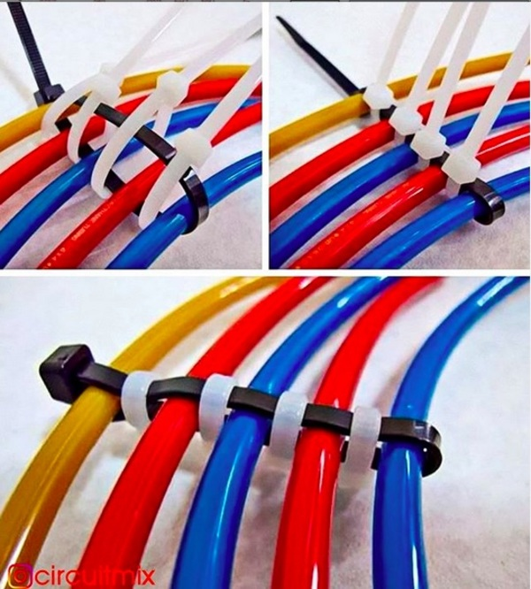 Cable wrapping with zip-ties, via @circuitmix on Instagram