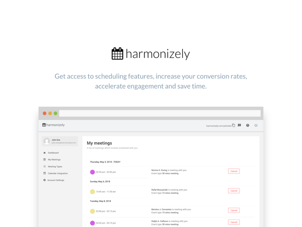 Harmonizely – Meetings and Appointments Scheduling Tool!