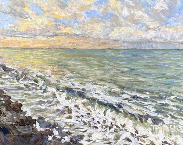 "Sunrise at Gordon's Beach study by Terrill Welch, 8"" x 10"" acrylic on gessobord."