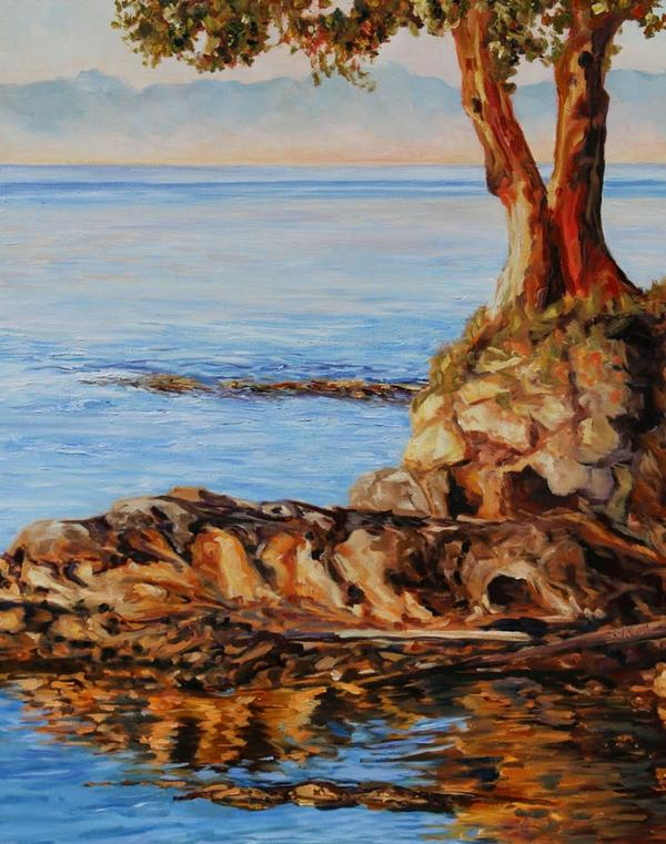 "Sold - Just Before Sunset Mayne Island BC by Terrill Welch, 30"" x 24"""