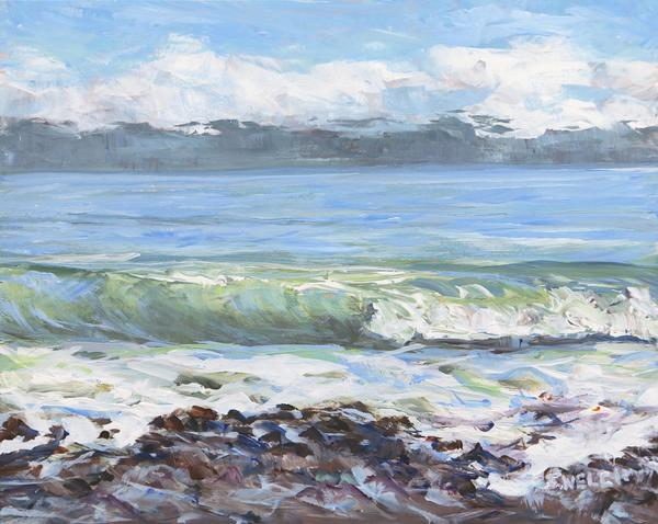 "Sold - China Beach Morning by Terrill Welch, acrylic on gessobord panel 8"" x 10"""
