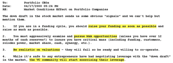 April 2000 email from Sequoia to portfolio companies