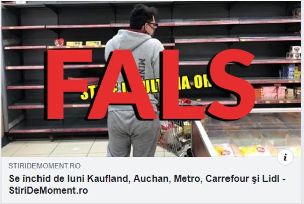 Una dintre știrile false distribuite de stiridemoment.ro.