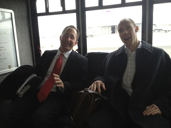 Fun with the finance guy (in an airport shuttle... remember those?)