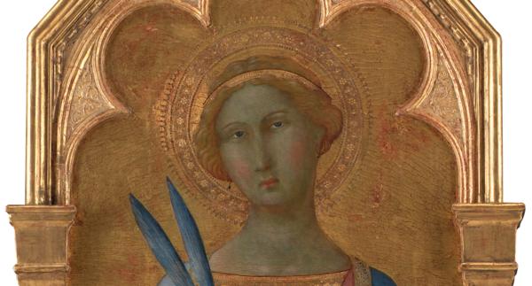 Illustratie: de heilige Corona (fragment), door de Meester van de Madonna van Palazzo Venezia. Zijpaneel van een altaarstuk, gemakt voor de kathedraal van Siena. Statens Museum for Kunst, Kopenhagen (publiek domein).