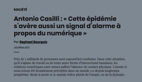 Antonio Casilli : « Cette épidémie s'avère aussi un signal d'alarme à propos du numérique »