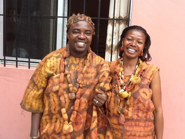 _____ in traditional African attire.