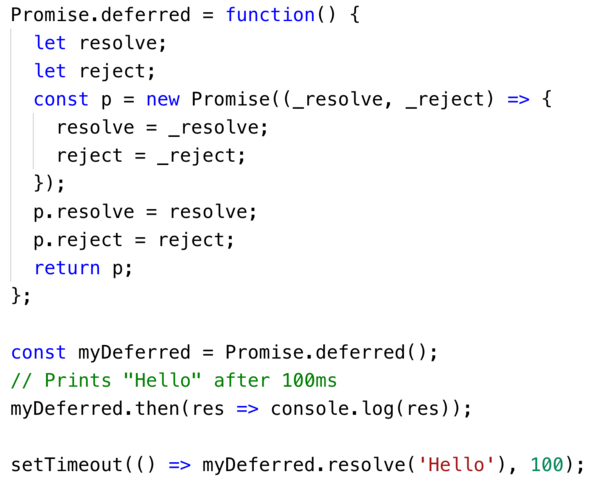 Create a new Deferred using ES6 promises