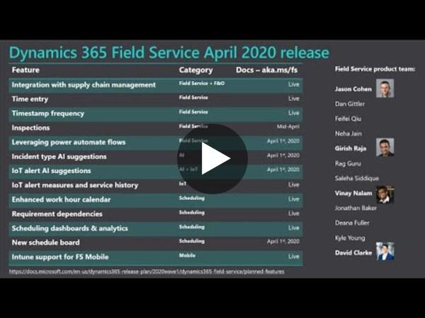 April 2020 Release: Dynamics 365 Field Service