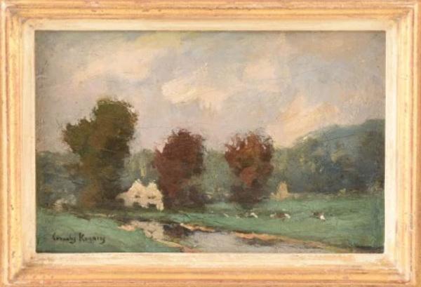 'Zomers landschap' - olieverf op doek: Cornelis Kuijpers (kavel 5 Notarishuis Arnhem)
