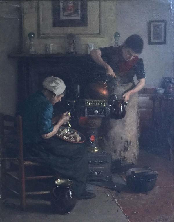 'In de keuken' - olieverf op paneel: Martinus Schildt (herkomst: coll. Galerie Wijdemeren)