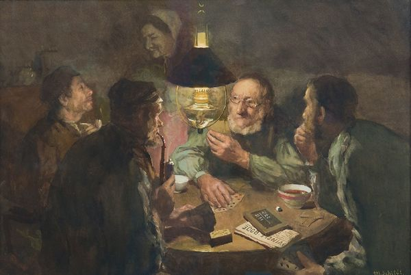 'De kaartspelers' - aquarel: Martin Schildt (Herkomst: coll. Kunsthandel Simonis & Buunk)