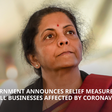Indian Government Announces Relief Measures for Businesses Affected by Coronavirus