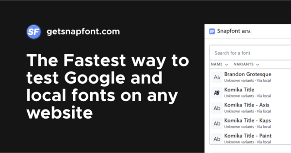 Snapfont — Plugin to try fonts on live websites