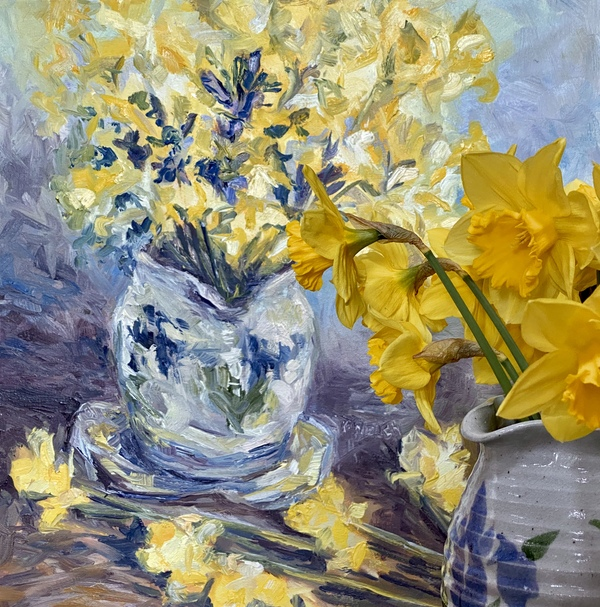 Suggestion of Daffodils by Terrill Welch - Oil On Canvas 16 x 16 inches