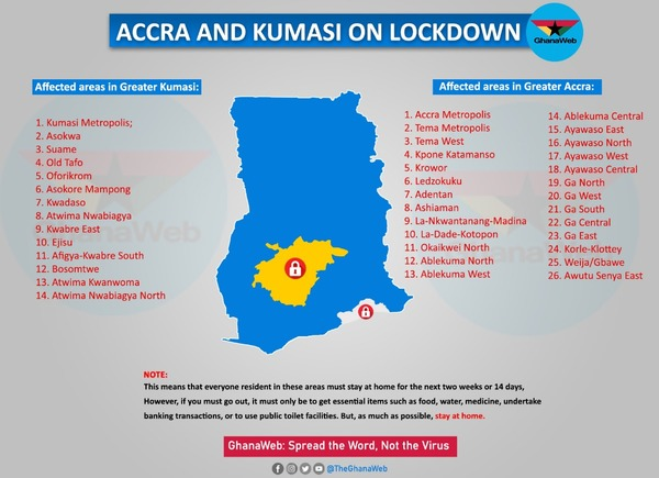 Lockdown: Affected areas in Greater Accra and Greater Kumasi