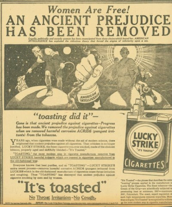 """Towards the end of the 1920s, women had won their right to vote in the United States. At the same time, the women's liberation movement was gaining momentum. In those times, it was frowned upon for women to smoke cigarettes and drink alcohol. As such, some tobacco companies took advantage of the women's liberation movement and started marketing cigarettes as a women's """"torches of freedom."""" Of course, they didn't care much for women's liberation, they just needed a new market segment to expand into for growth. A great illustration of how narratives, however false, can spread quickly. 📷 Lucky Strike advertisement, 1929"""