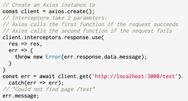 Axios interceptors can transform error messages