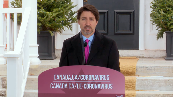 Prime Minister Justin Trudeau delivers a statement on Wednesday, April 8, 2020