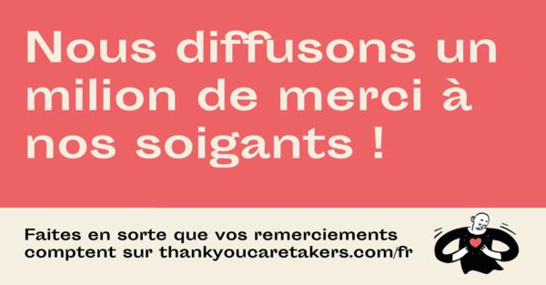 Envoyez des remerciements aux soignantes! Chaque message livré!