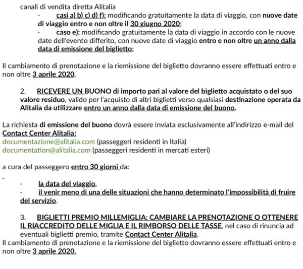 Uno screenshot della pagina Alitalia dedicata al rimborso del biglietto