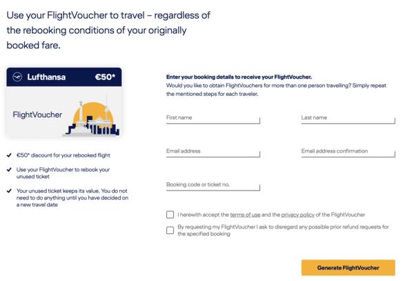 Il form online di Lufthansa