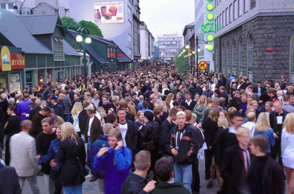 1997: Drunk teenagers flood downtown Reykjavik at 3:00 AM (not a typo).