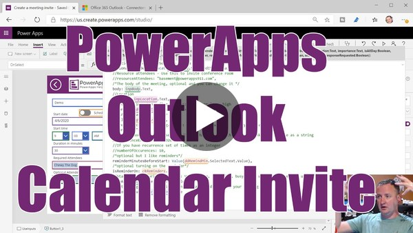 PowerApps Calendar Create Invite using the Outlook Connector