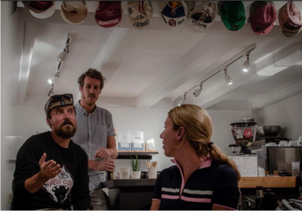 yours truly talking about bikes at a bike event at Rapha here in Amsterdam