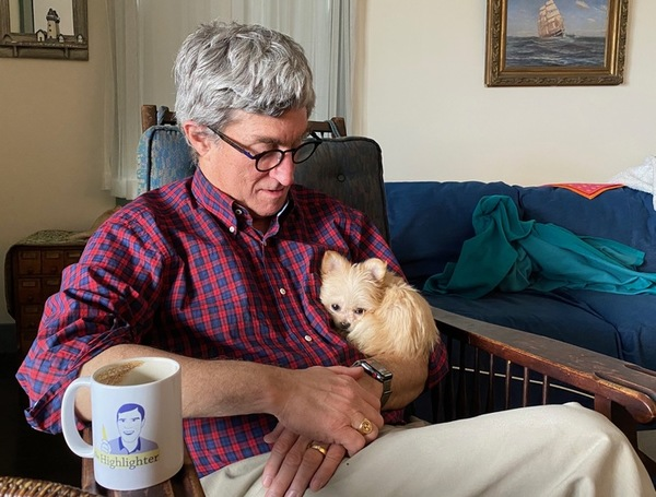 Here's Sophie, a 2-pound Miki, with her owner, VIP Len, in The Highlighter's first-ever dog-plus-mug-plus-owner photo. Can anyone top this? If you're hankering for a mug, become a VIP or head to highlighter.cc/store. As for getting yourself a cute dog, feel free to scour the archives for ideas! hltr.co/issues