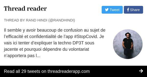 Thread by @randhindi au sujet de l'efficacité et confidentialité de l'app #StopCovid.