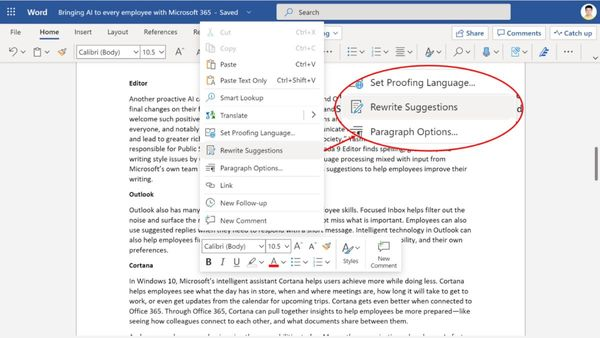 Microsoft Word online can now rewrite whole sentences for you: How to use it
