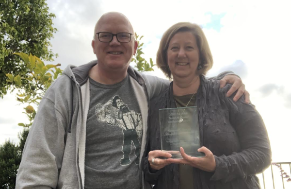 "Susan Baxter with her husband Steve Betz (VP Biology and co-founder, Crinetics Pharmaceuticals) who presented her with the first Susan M. Baxter Leadership Award. ""Thank you all for the surprise... and wonderful sentiments."""