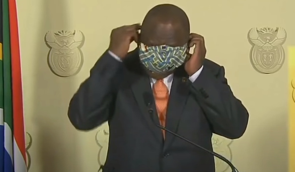 South African President, Cyril Ramaphosa, putting on his mask before adrressing the nation on the phased unlocking of the country. At the time, many made fun of how he put on his mask, it turns out that's the correct way to put on a mask and avoid touching your face.