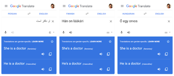 Gender-specific translations from Persian, Finnish, and Hungarian in the new Google Translate.