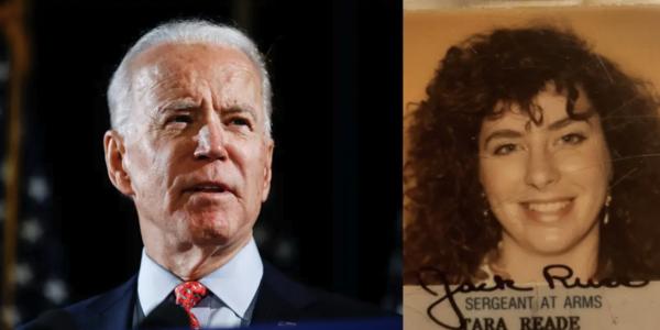 Joe Biden en een foto van de Senaatspas van Tara Reade uit 1993
