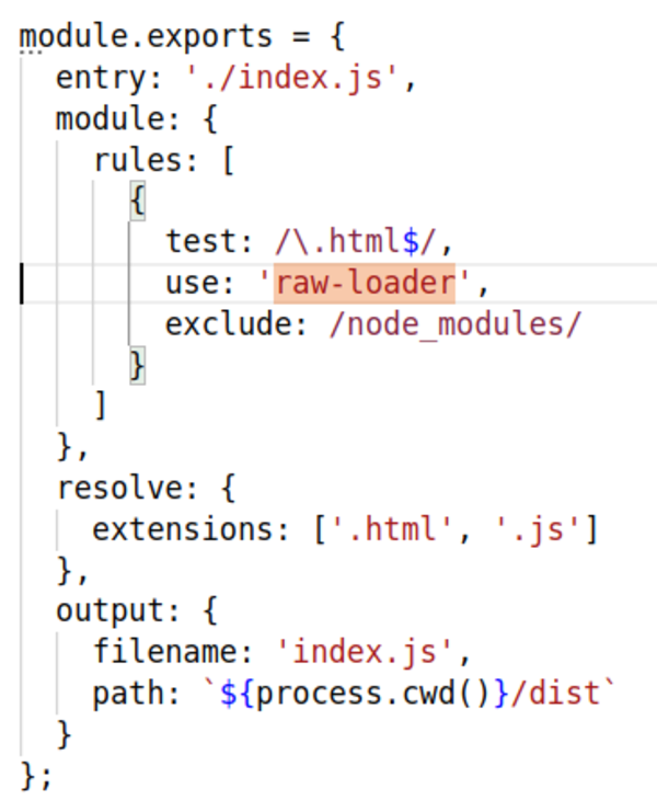 Using raw-loader to import HTML templates