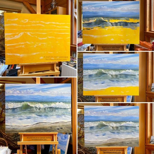 Work-in-progress by Canadian landscape painter Terrill Welch