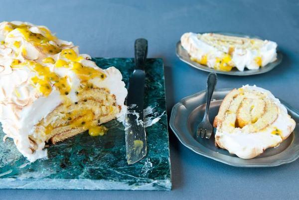 Passiefruit cakerol met meringue (klik voor recept & video)