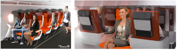 "And for when the middle seat comes back....Italian company Aviointeriors has been producing aircraft cabin interiors and passenger seats for over 40 years and they have some new and innovative concepts. The ""Glassafe"" (left) is a protective shield that can be fitted on to existing seats ""to reduce the probability of contamination. ""The ""Janus"" seats (right) is made up of a row of three, with the seat in the middle facing the opposite direction. Each seat is fixed with a three-sided shield to prevent ""breath propagation""."