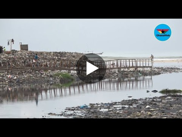 Chorkor residents unhappy after heavy rains swept foot bridge into sea.