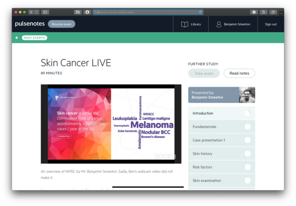 Ben's Skin Cancer LIVE lecture is available to watch NOW...